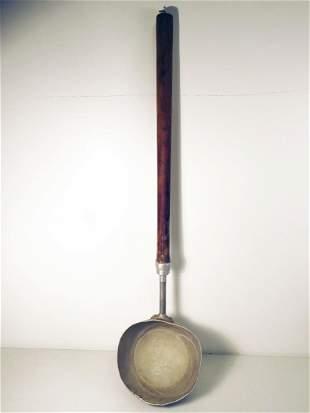 LARGE LONG HANDLED ANTIQUE WOOD & TIN LADLE