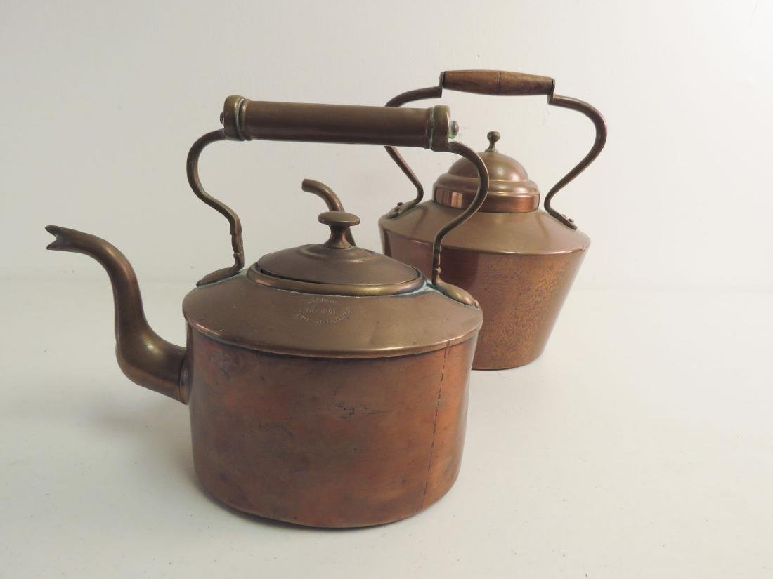 TWO ANTIQUE COPPER KETTLES