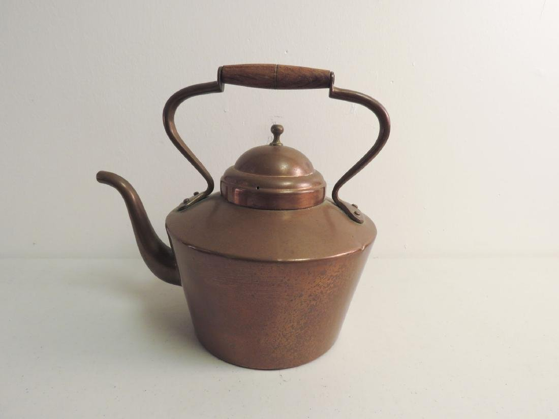 TWO ANTIQUE COPPER KETTLES - 2