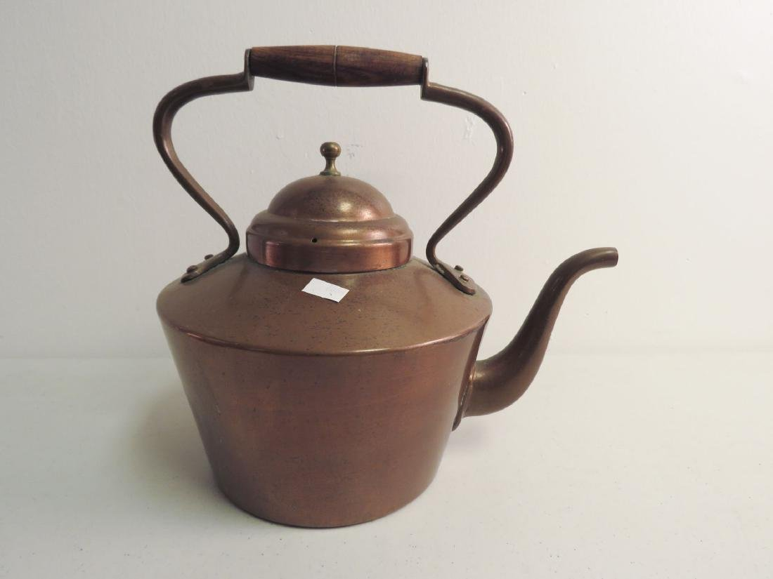 TWO ANTIQUE COPPER KETTLES - 3