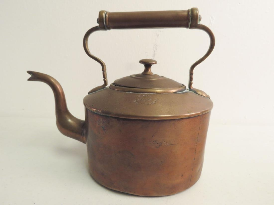 TWO ANTIQUE COPPER KETTLES - 4