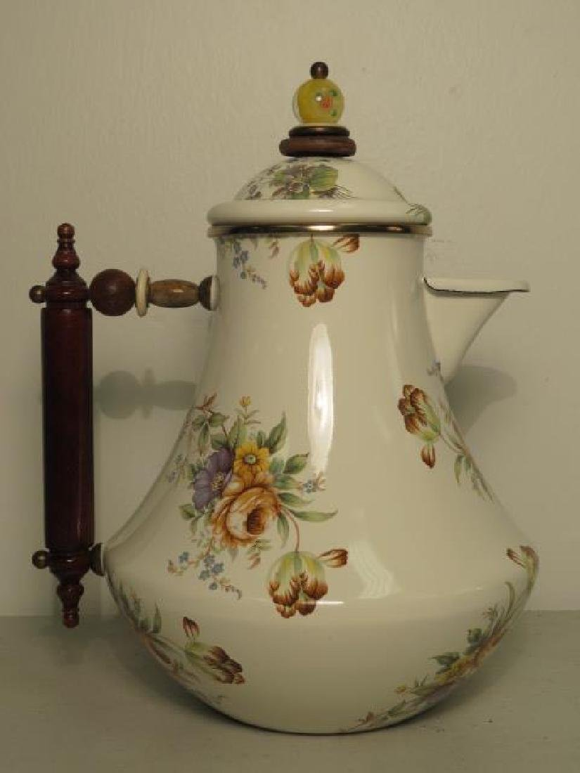 MACKENZIE CHILDS FLORAL ENAMELED COFFEE POT