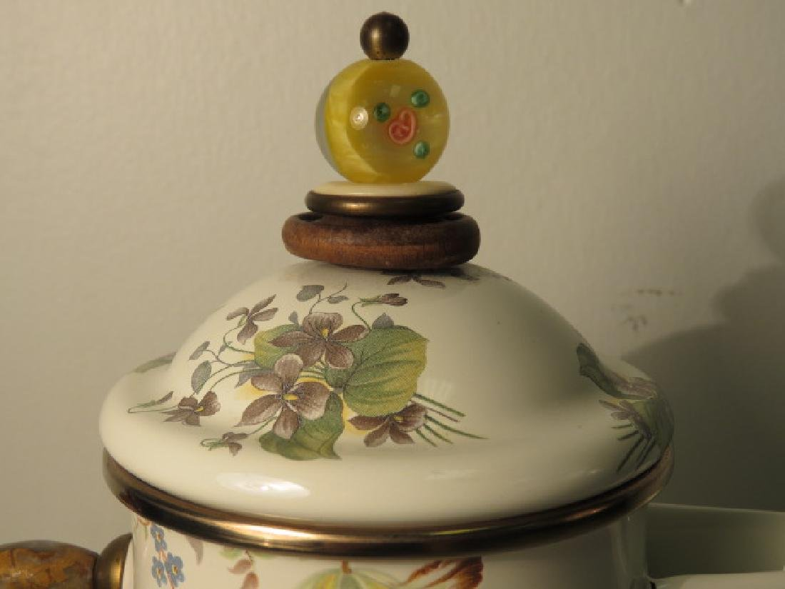 MACKENZIE CHILDS FLORAL ENAMELED COFFEE POT - 4