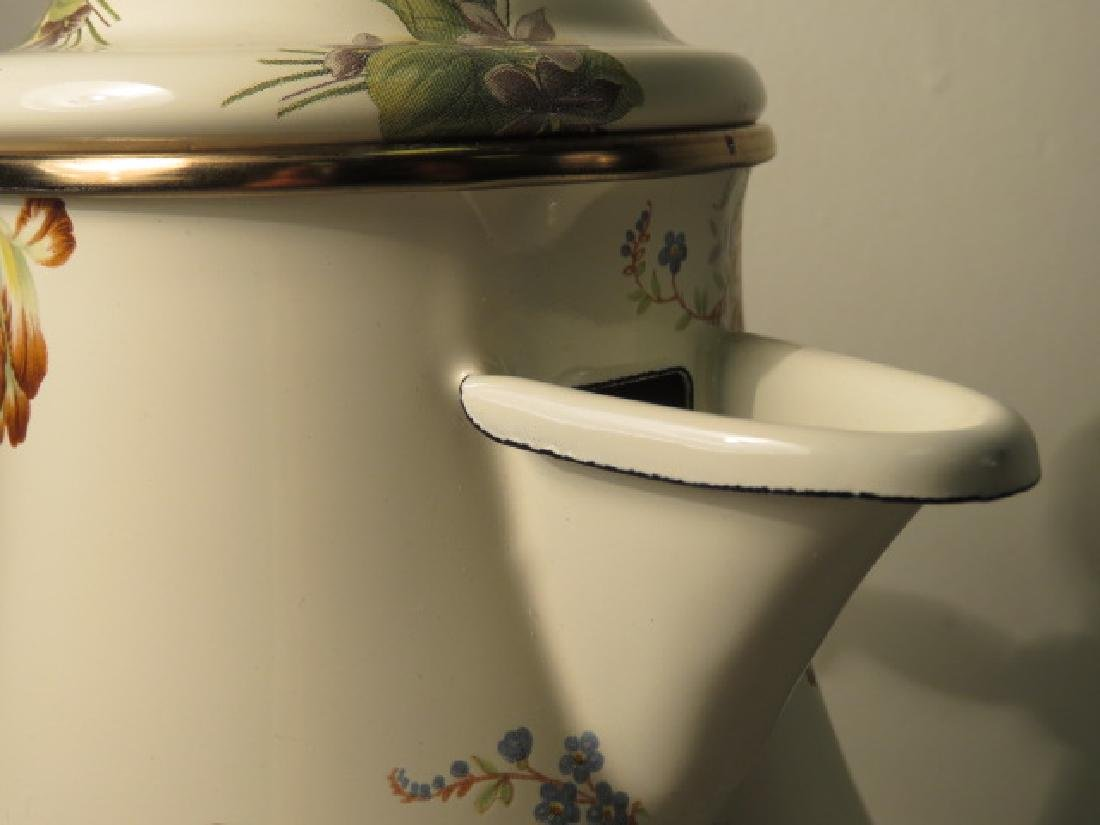 MACKENZIE CHILDS FLORAL ENAMELED COFFEE POT - 5