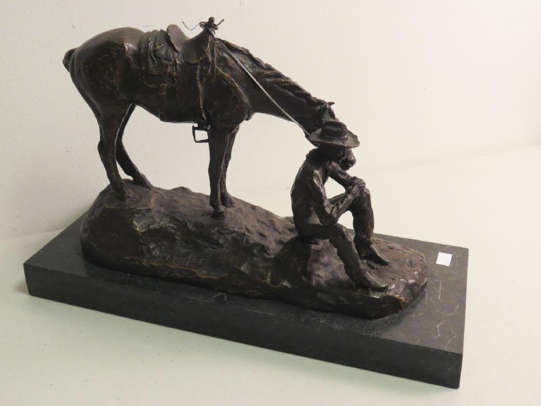 SOUTHWESTERN STYLE BRONZE SCULPTURE MAN & HORSE