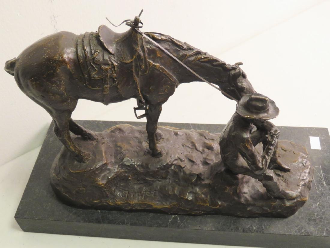 SOUTHWESTERN STYLE BRONZE SCULPTURE MAN & HORSE - 2
