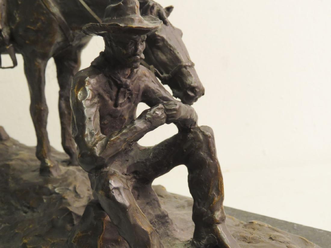 SOUTHWESTERN STYLE BRONZE SCULPTURE MAN & HORSE - 3