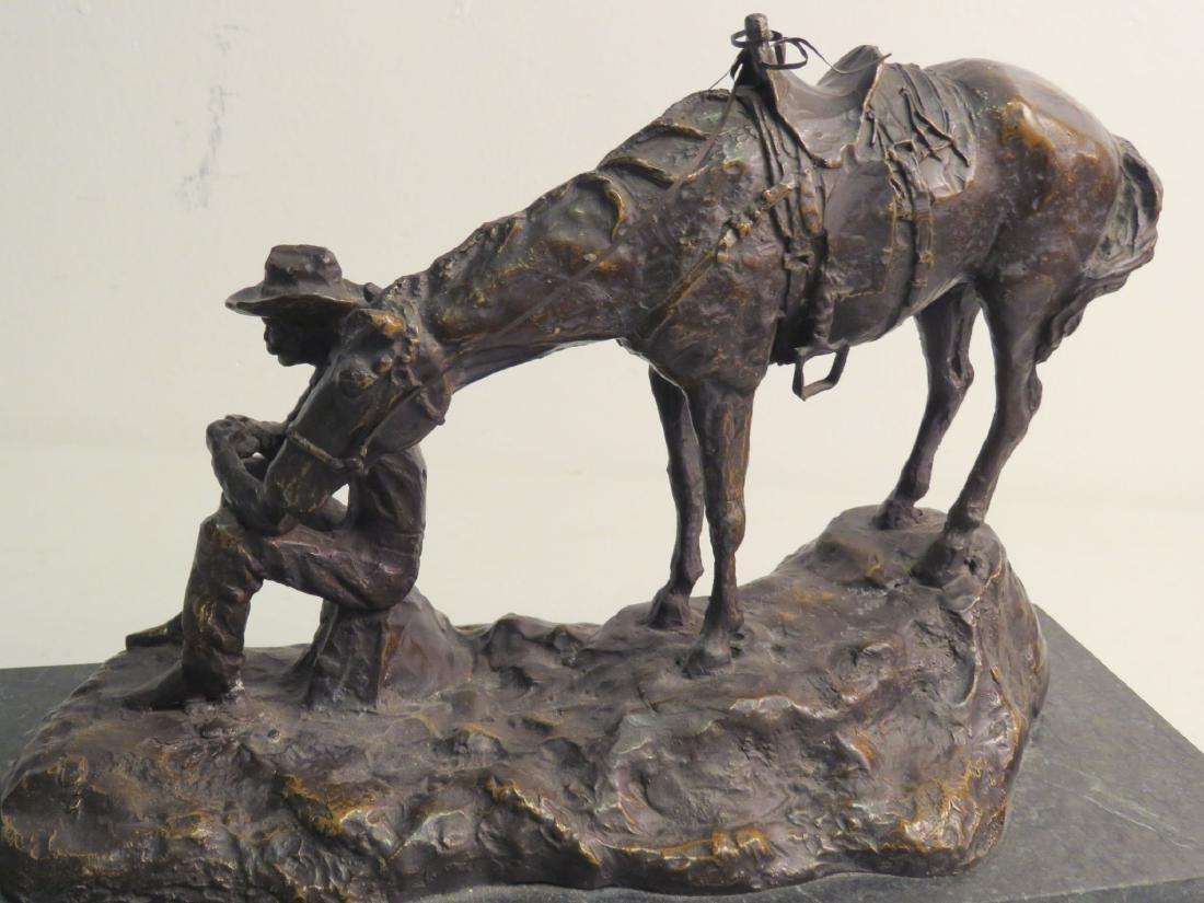 SOUTHWESTERN STYLE BRONZE SCULPTURE MAN & HORSE - 5