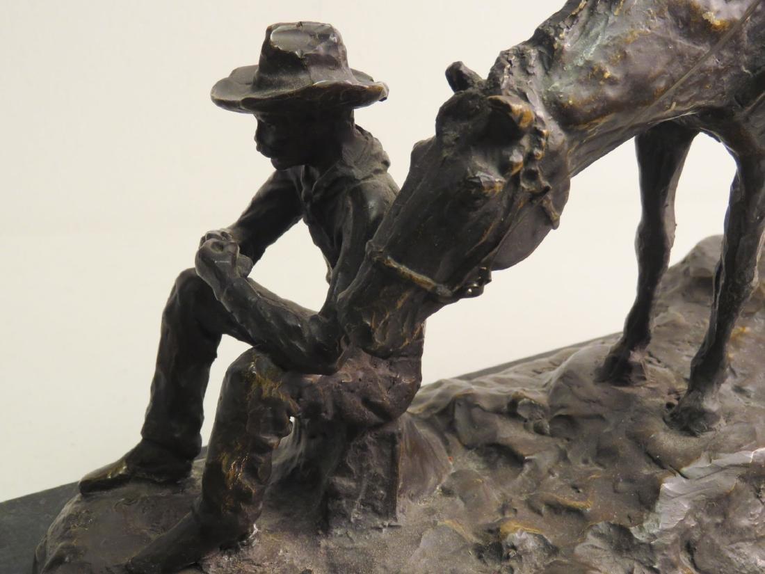 SOUTHWESTERN STYLE BRONZE SCULPTURE MAN & HORSE - 6