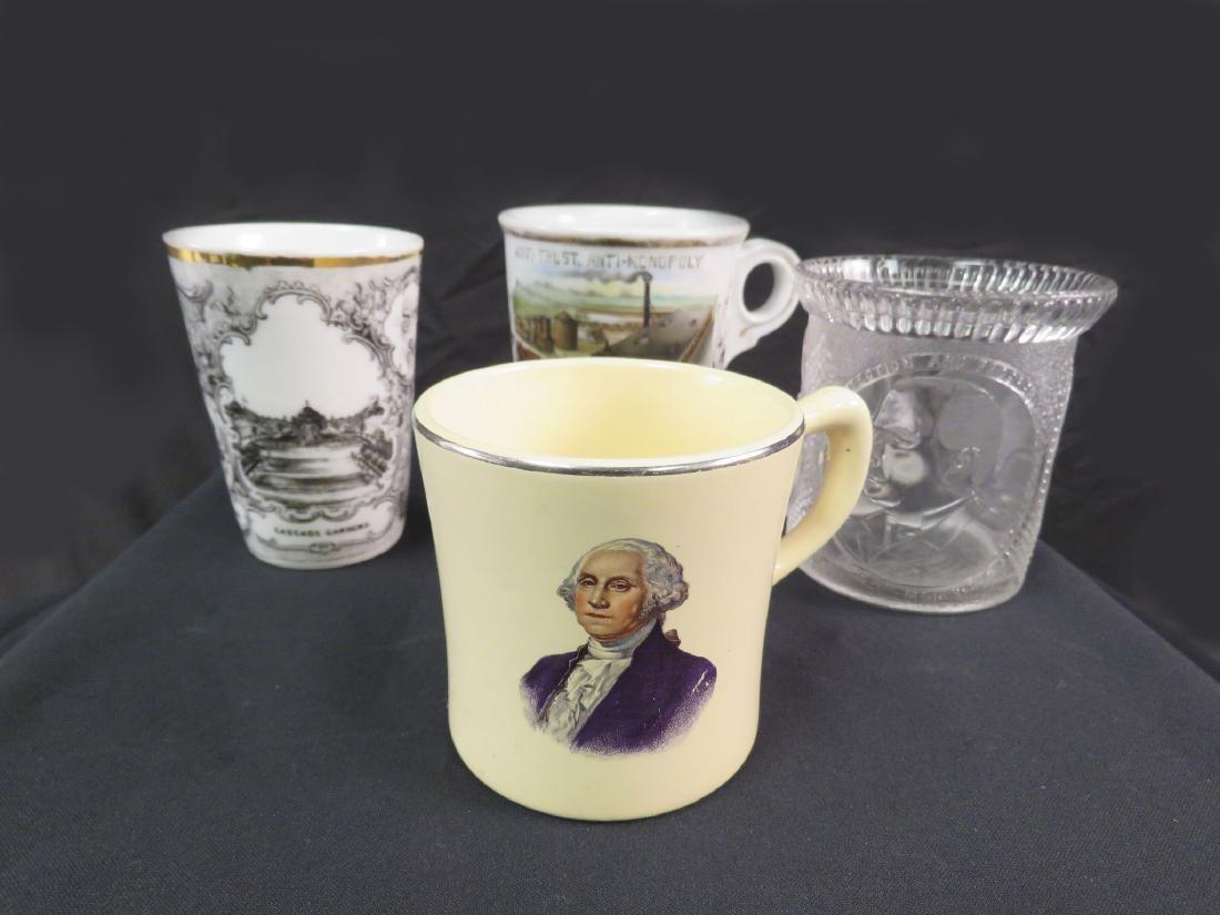 FOUR ANTIQUE COMMEMORATIVE SHAVING MUGS, CUPS ETC