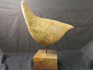 LILLYAN JACOBS RHODES CARVED STONE BIRD SCULPTURE