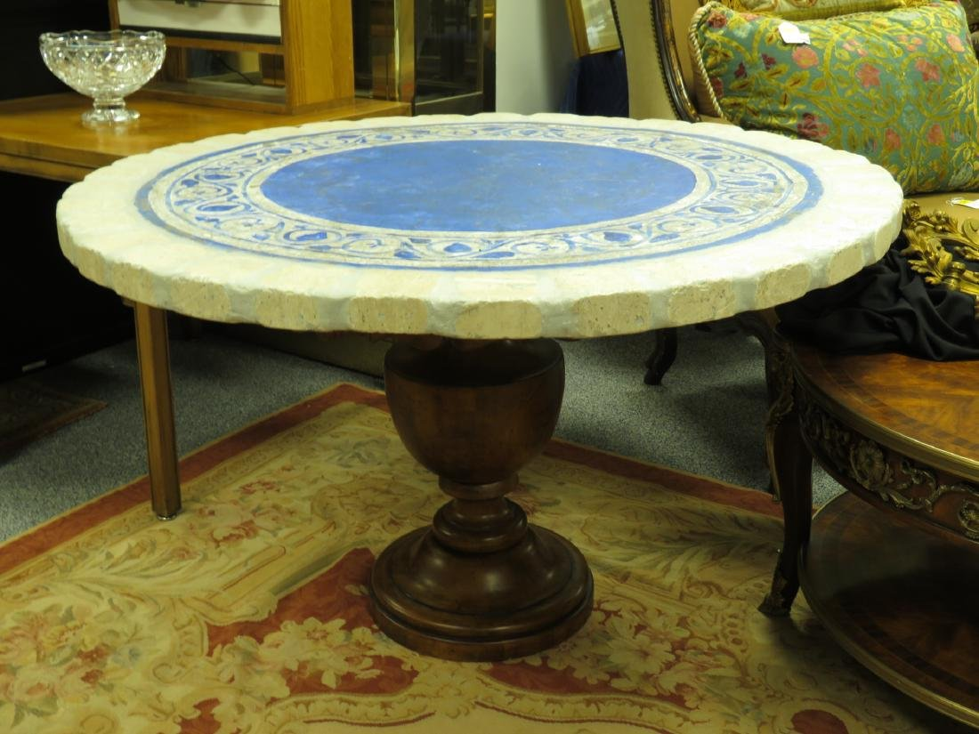 PAINTED STONE TILE TOP TABLE