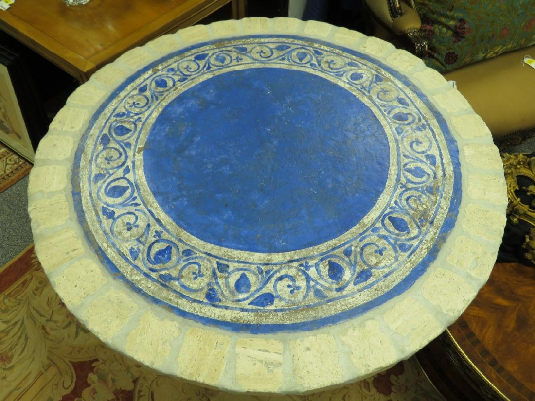 PAINTED STONE TILE TOP TABLE - 2