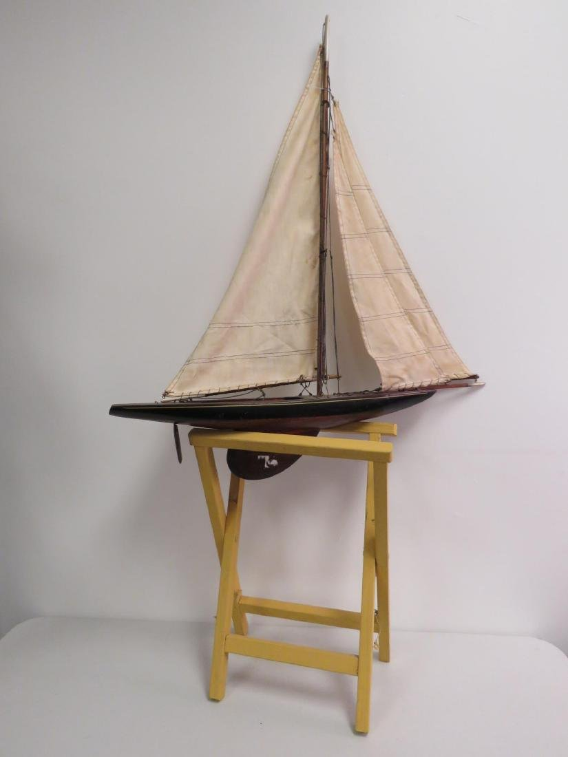 VINTAGE WOODEN MODEL SAILBOAT