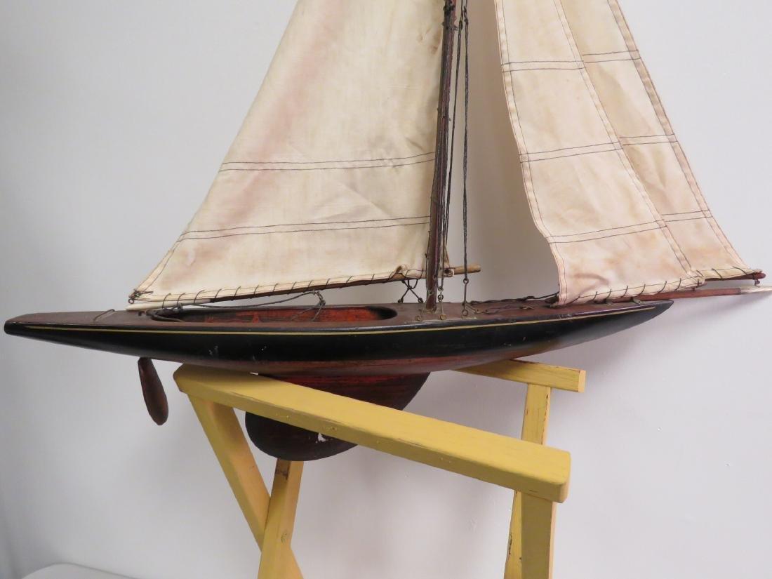 VINTAGE WOODEN MODEL SAILBOAT - 4