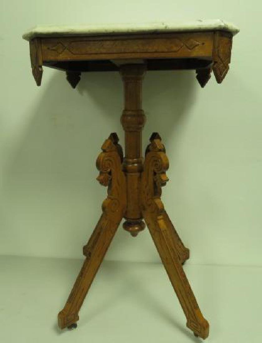 SMALL EASTLAKE VICTORIAN MARBLE TOP SIDE TABLE