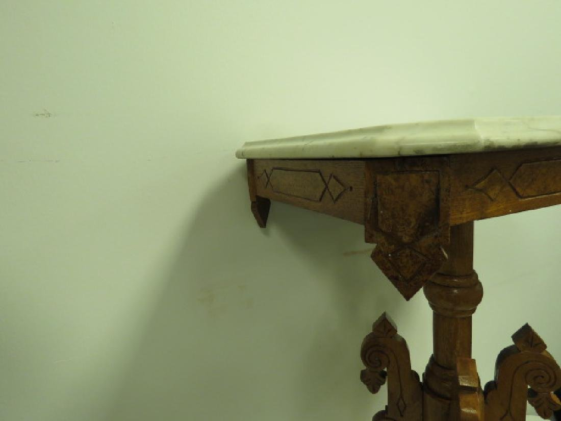 SMALL EASTLAKE VICTORIAN MARBLE TOP SIDE TABLE - 7