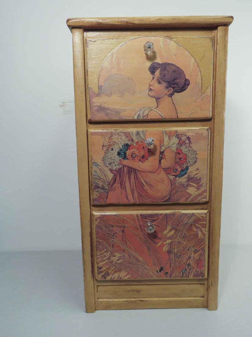 THREE DRAW STAND WITH ART NOUVEAU DECORATION