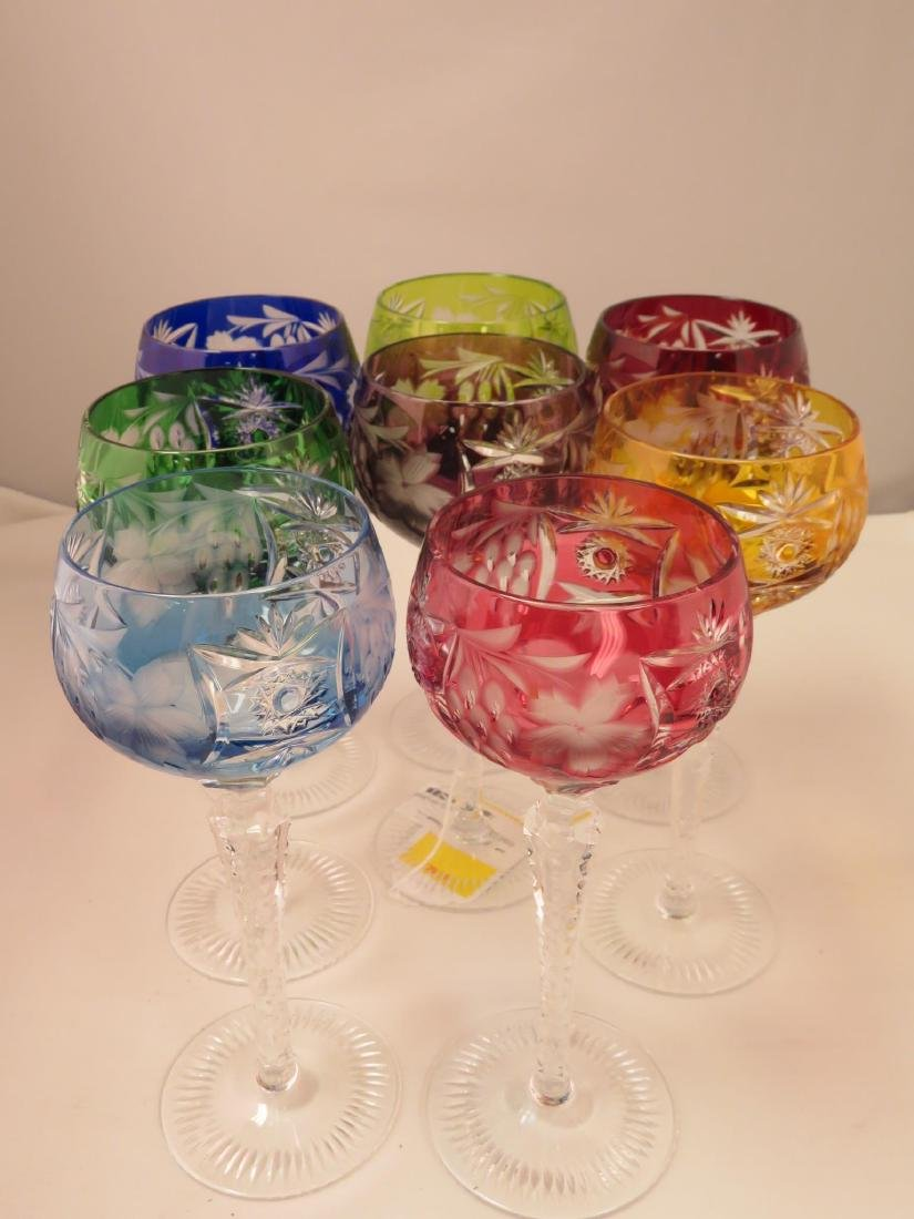 EIGHT COLORED CUT TO CLEAR CRYSTAL WINE HOCKS STEM