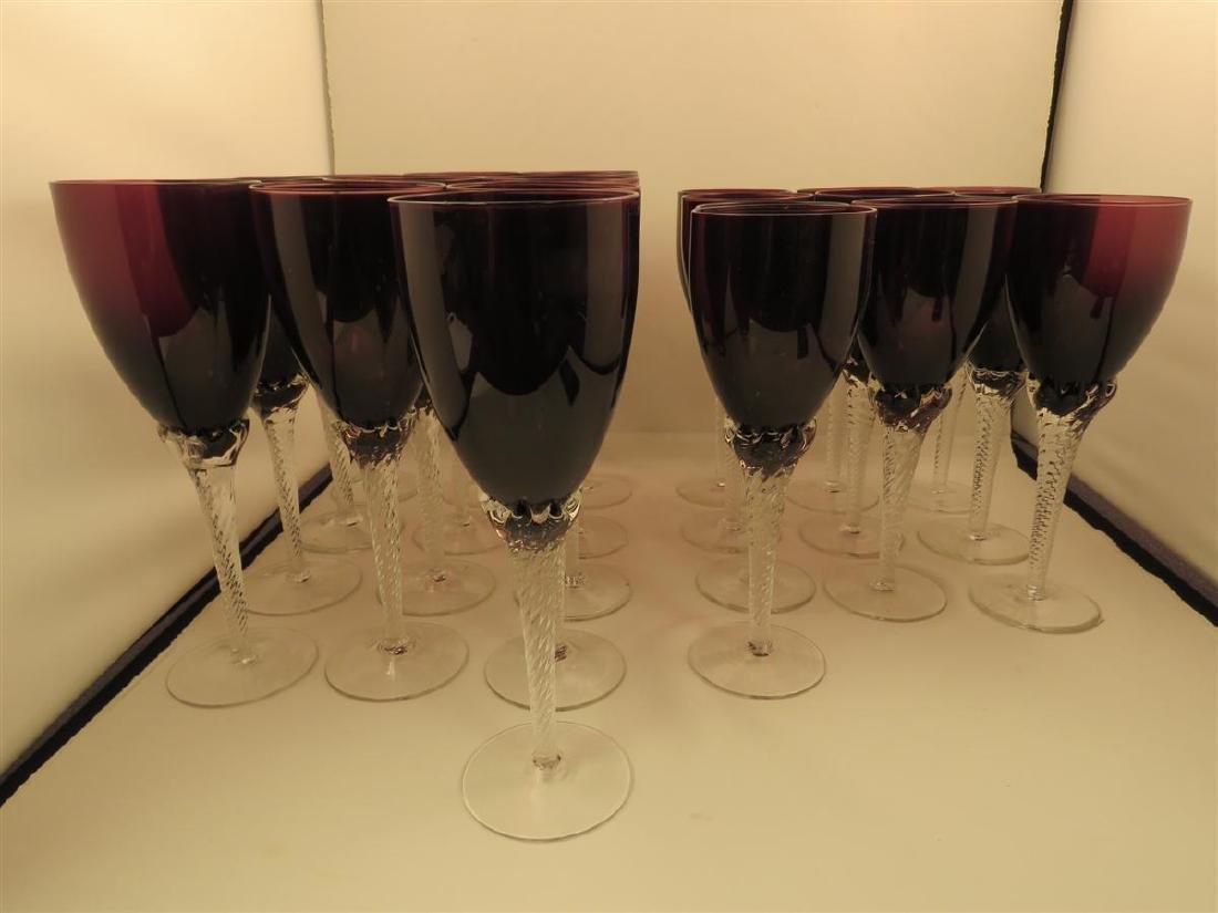 TWENTY-THREE VILLEROY & BOCH AMETHYST GLASS STEMS