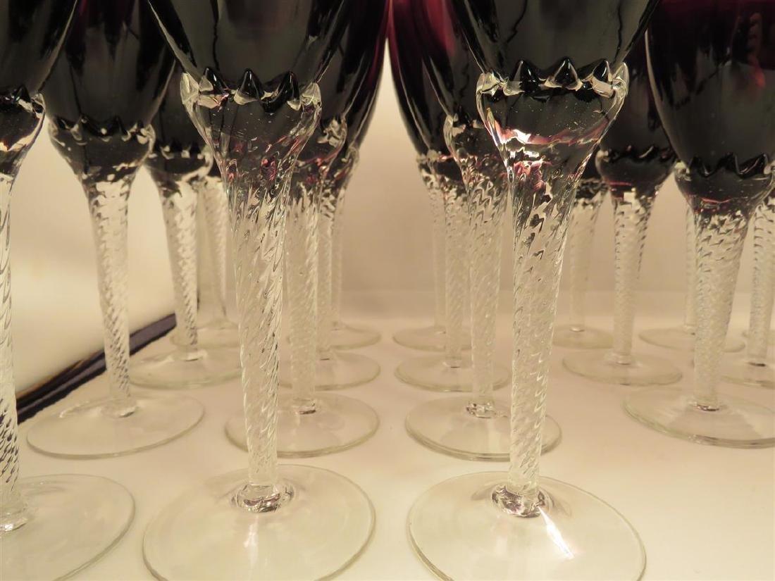 TWENTY-THREE VILLEROY & BOCH AMETHYST GLASS STEMS - 4