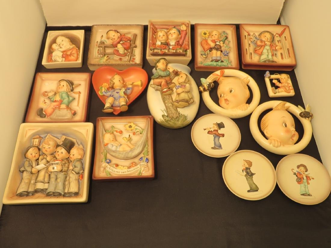 SIXTEEN ASSORTED GOEBEL HUMMEL WALL PLAQUES/POCKET