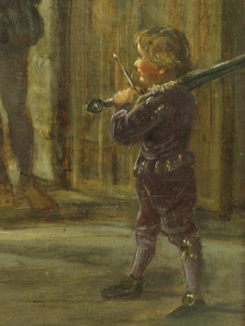 T.F. DICKSEE OIL ON CANVAS PAINTING: BATTLE PREP - 4