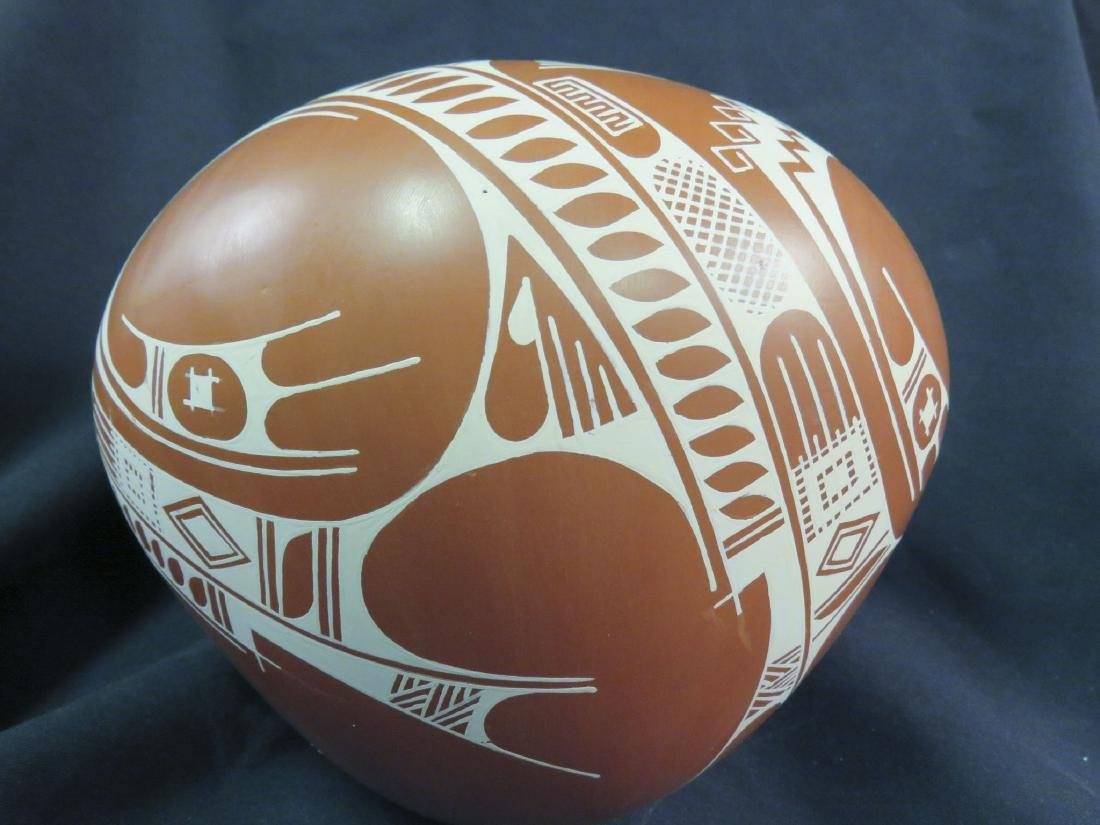 ISMAEL FLORES MEXICAN POTTERY BOWL ON STAND - 3