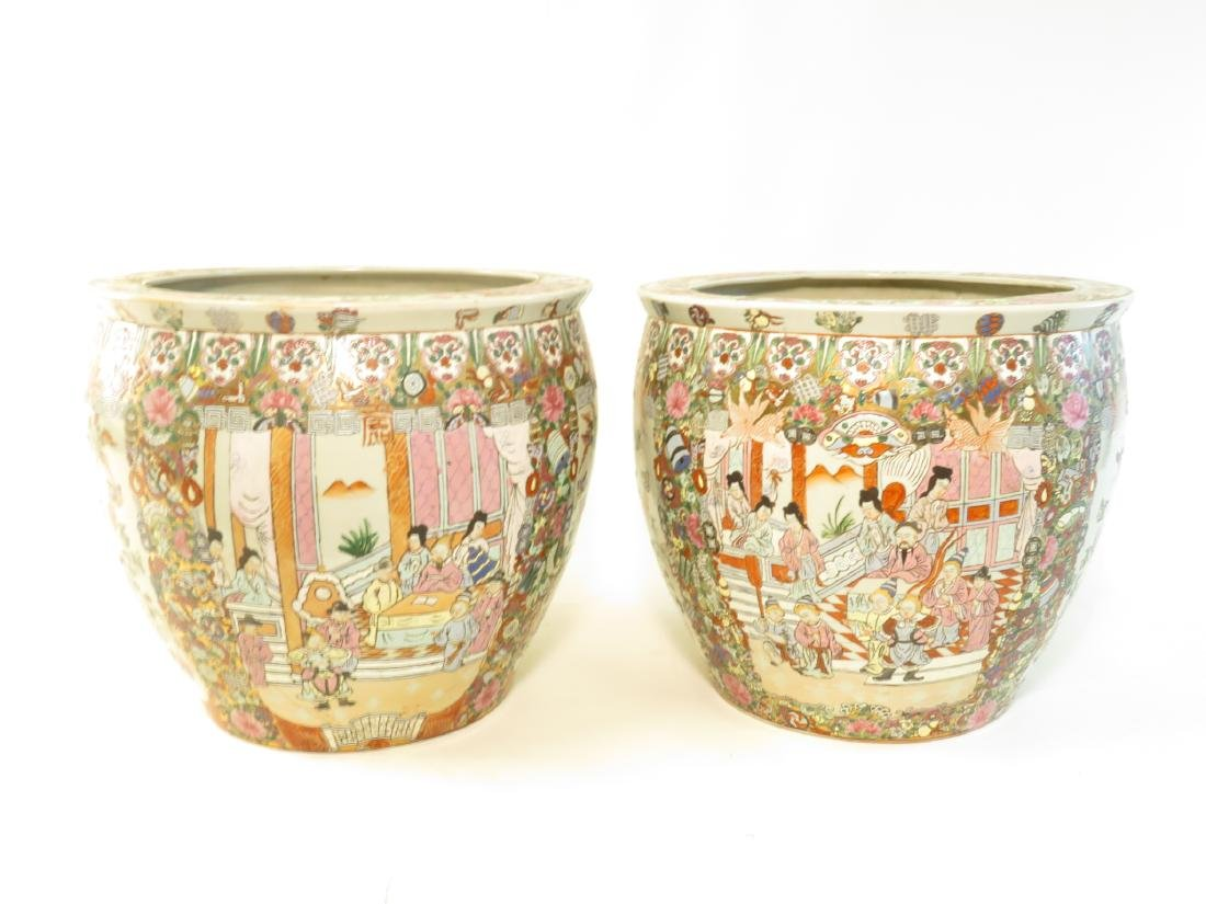PAIR CHINESE ROSE MEDALLION STYLE PLANTERS