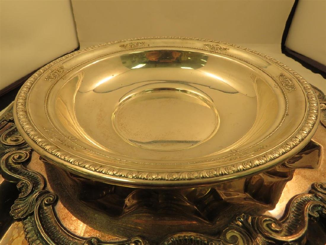 STERLING BOWL & THREE SILVER PLATED TRAYS - 2