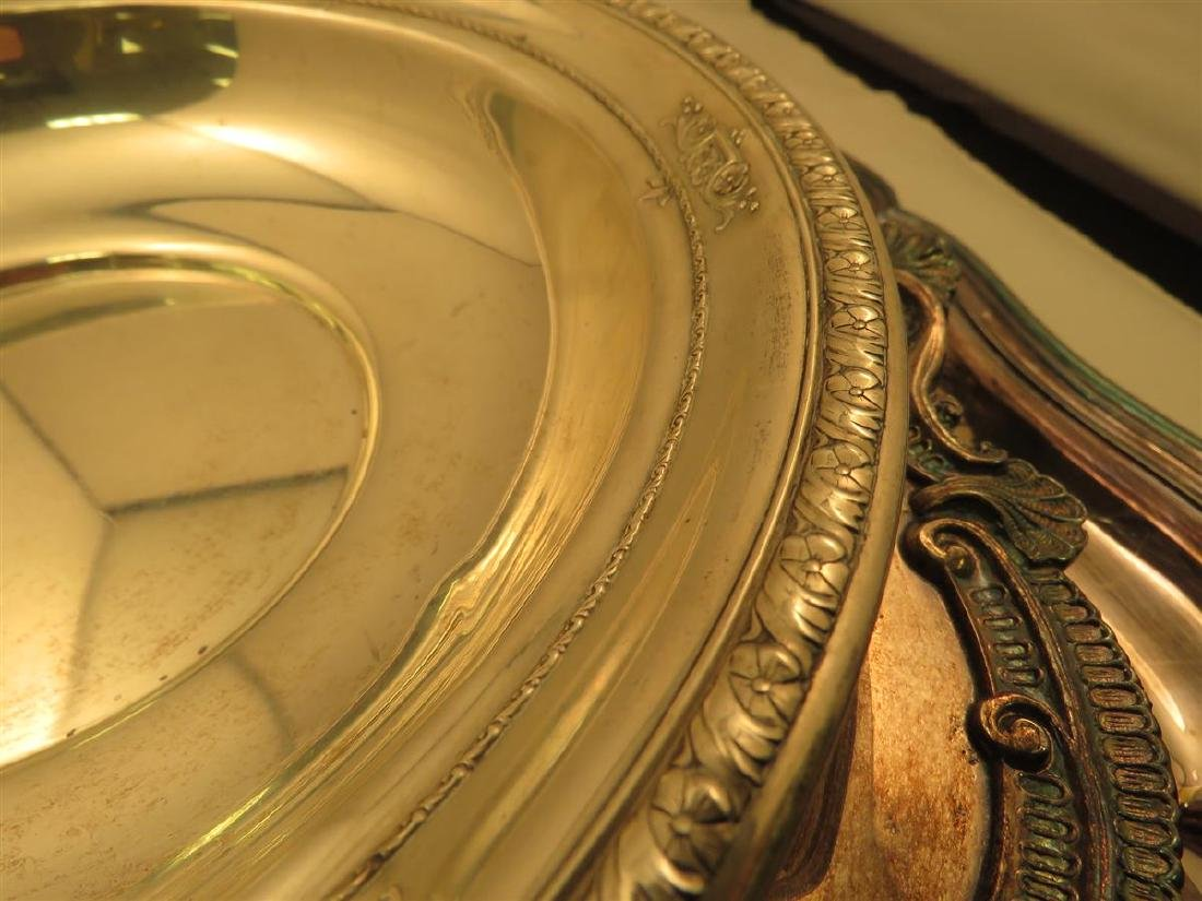 STERLING BOWL & THREE SILVER PLATED TRAYS - 4