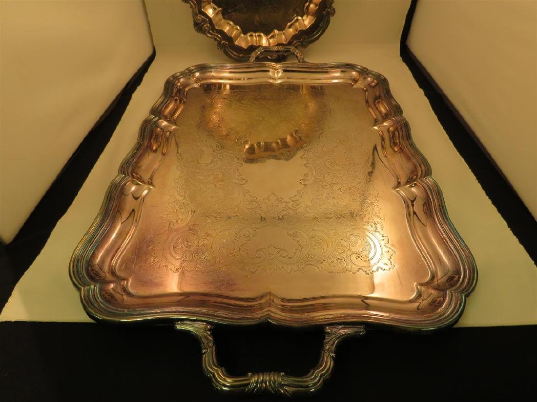 STERLING BOWL & THREE SILVER PLATED TRAYS - 6