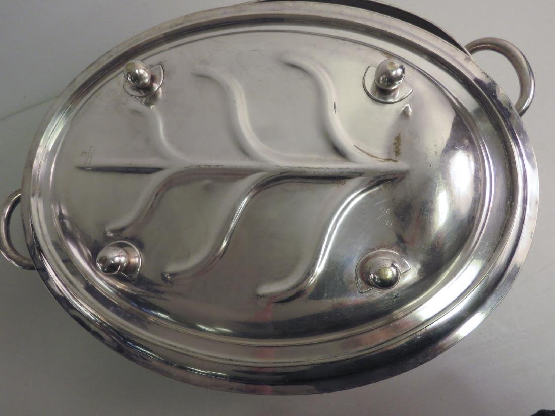 SILVER PLATED MEAT PLATTER & WARMING TRAY - 3