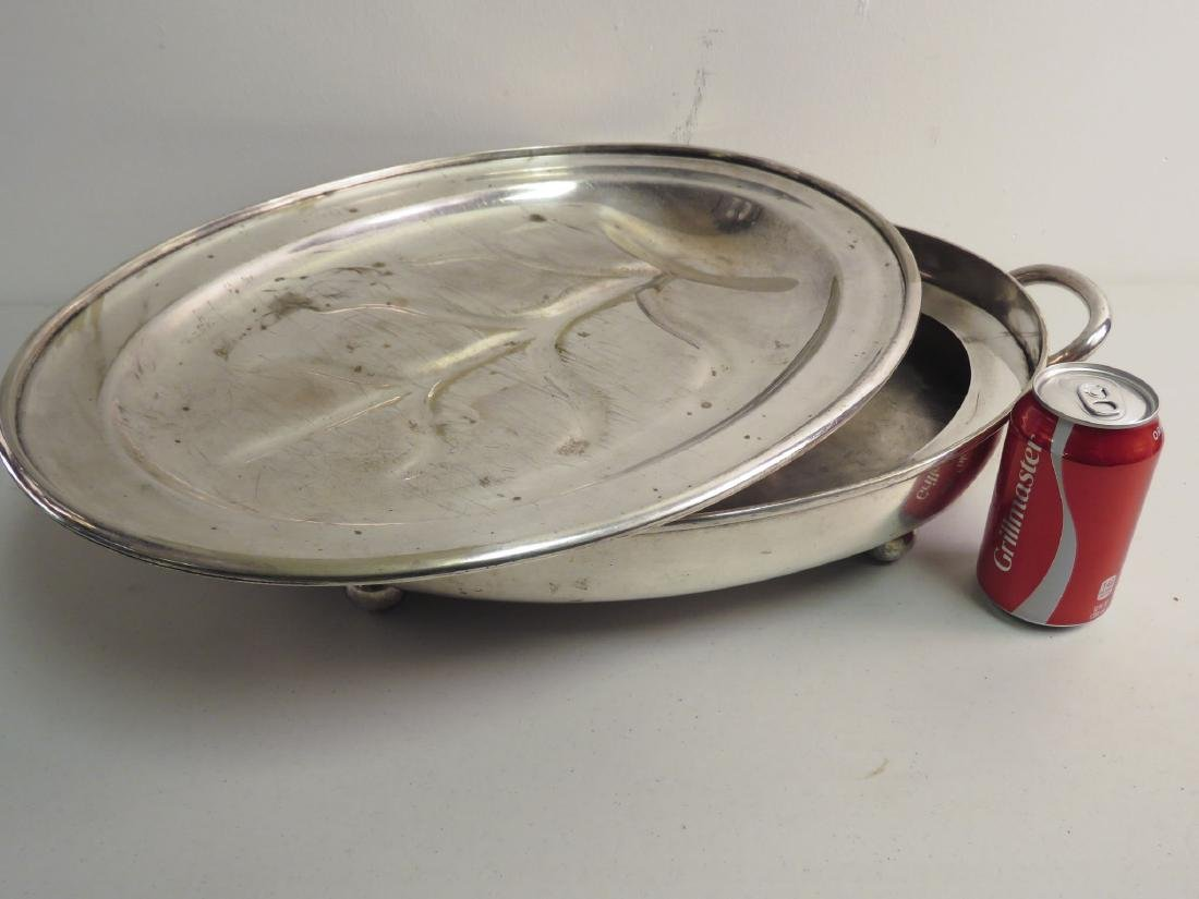 SILVER PLATED MEAT PLATTER & WARMING TRAY - 7