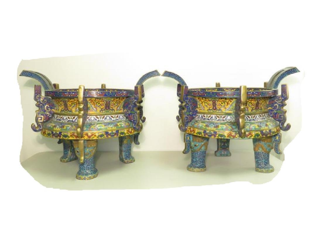 PAIR ANTIQUE CHINESE CHAMPLEVE BRAZIERS
