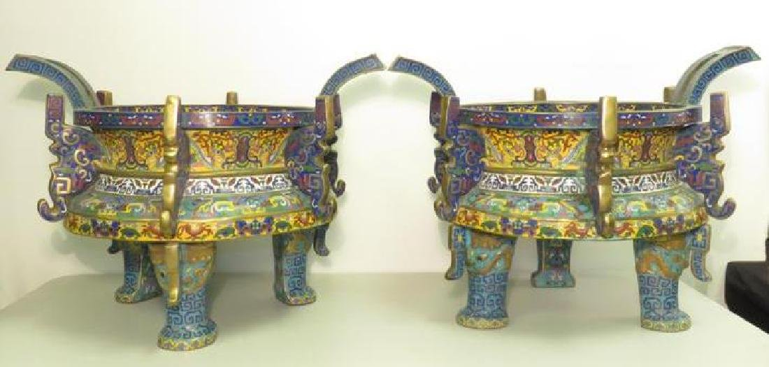 PAIR ANTIQUE CHINESE CHAMPLEVE BRAZIERS - 2