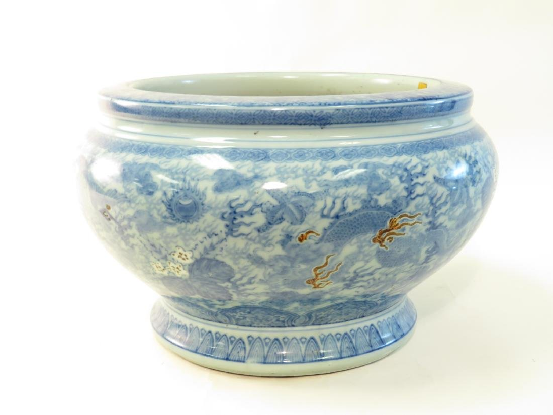 ANTIQUE ASIAN BLUE & WHITE FISHBOWL PLANTER