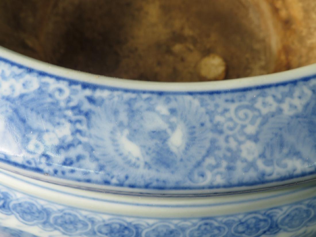 ANTIQUE ASIAN BLUE & WHITE FISHBOWL PLANTER - 3