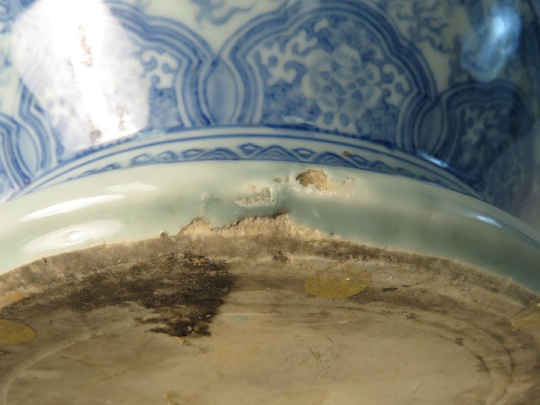 ANTIQUE ASIAN BLUE & WHITE FISHBOWL PLANTER - 9