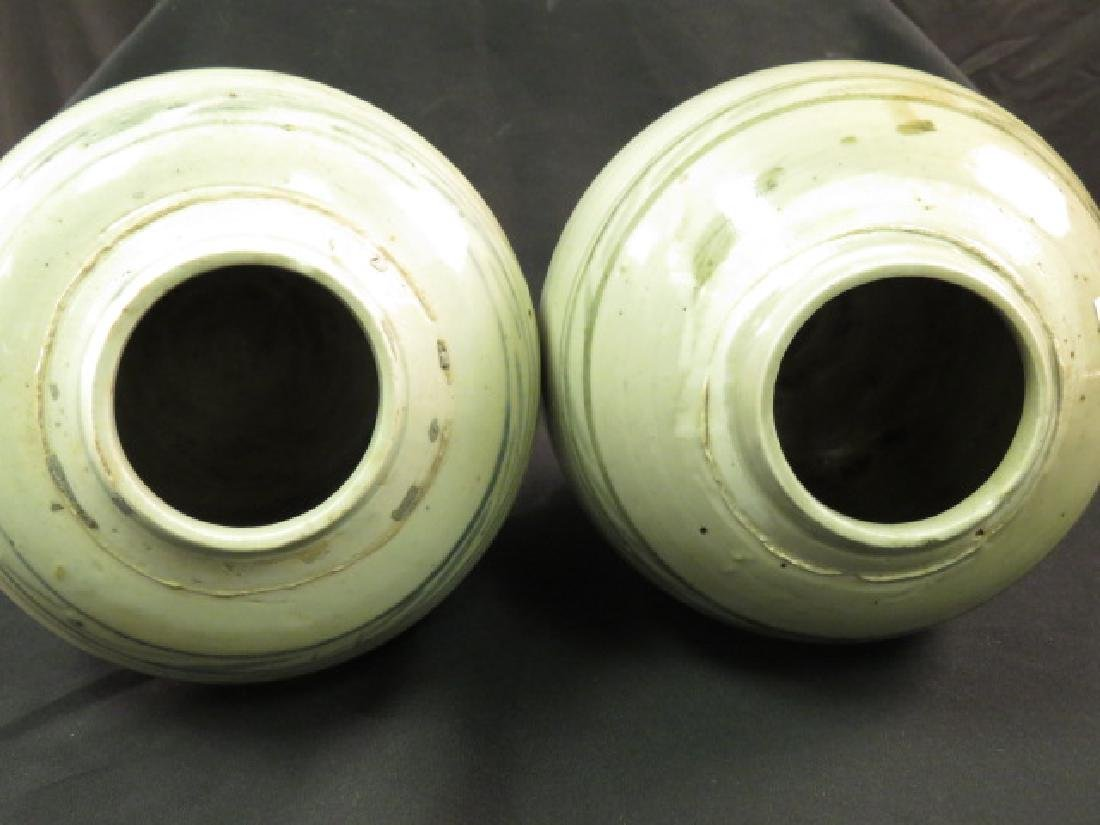 TWO ASIAN HAND THROWN POTTERY VASES OR JARS - 2