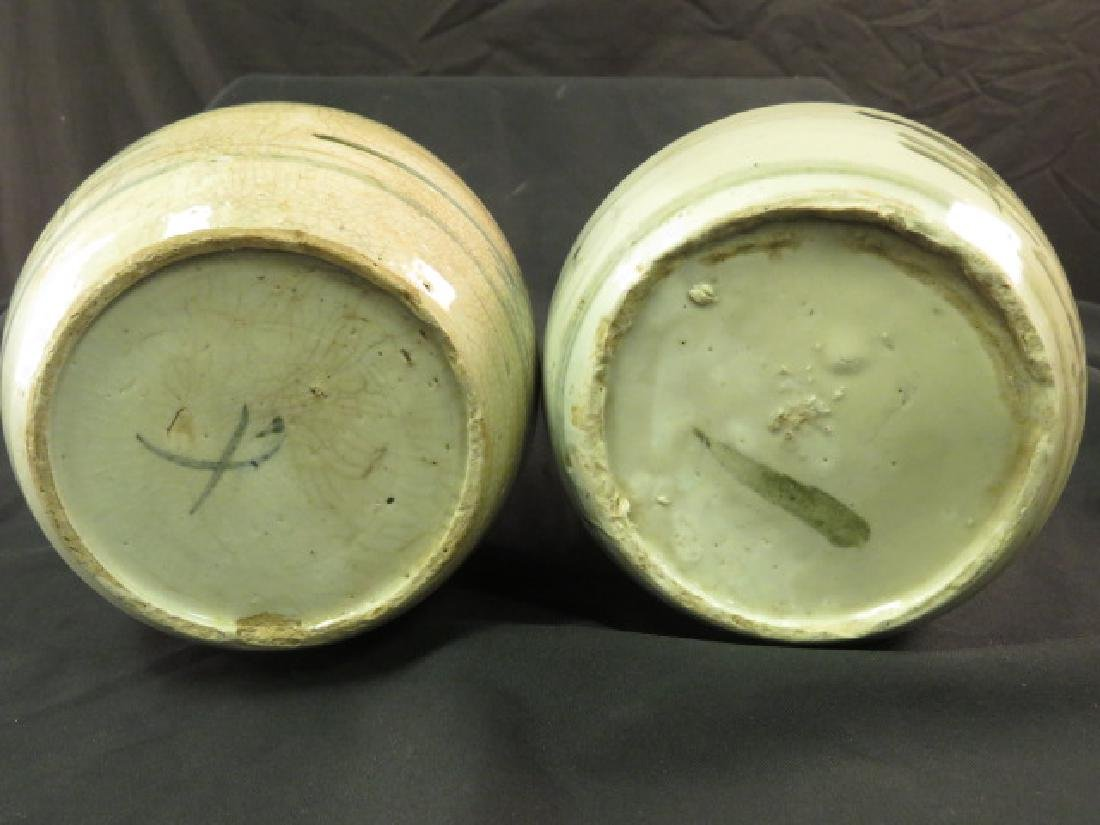 TWO ASIAN HAND THROWN POTTERY VASES OR JARS - 6