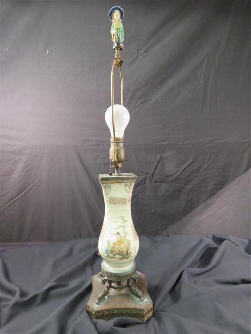 ANTIQUE JAPANESE SATSUMA VASE AS TABLE LAMP