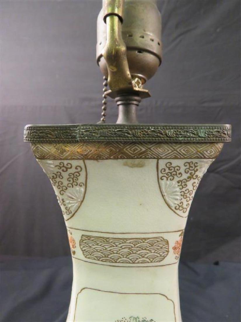 ANTIQUE JAPANESE SATSUMA VASE AS TABLE LAMP - 2