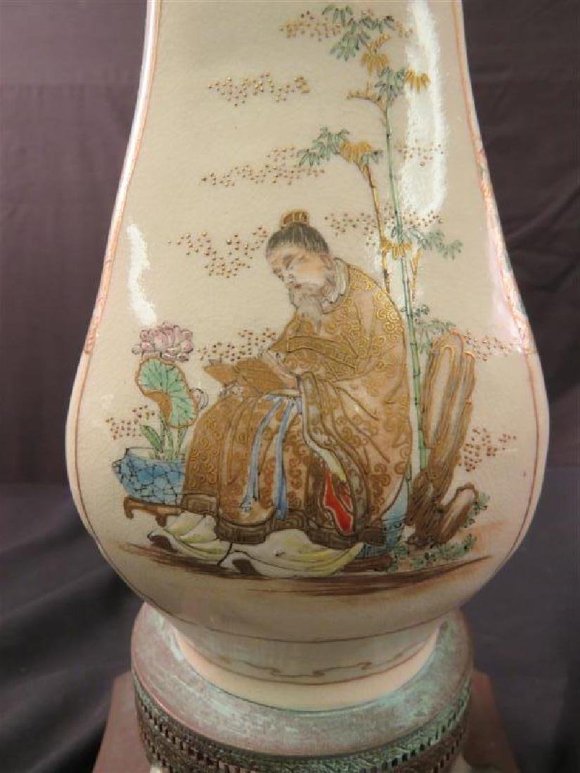 ANTIQUE JAPANESE SATSUMA VASE AS TABLE LAMP - 9