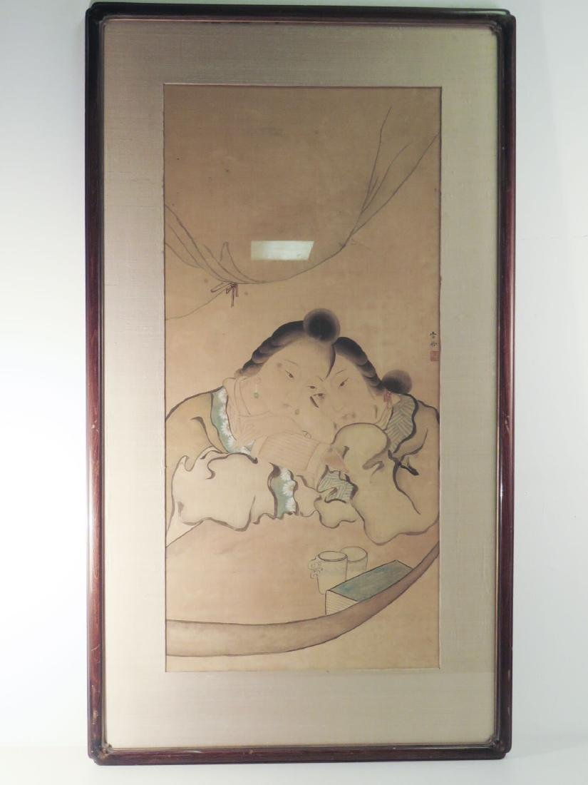 ANTIQUE CHINESE FRAMED PAINTING ON SILK