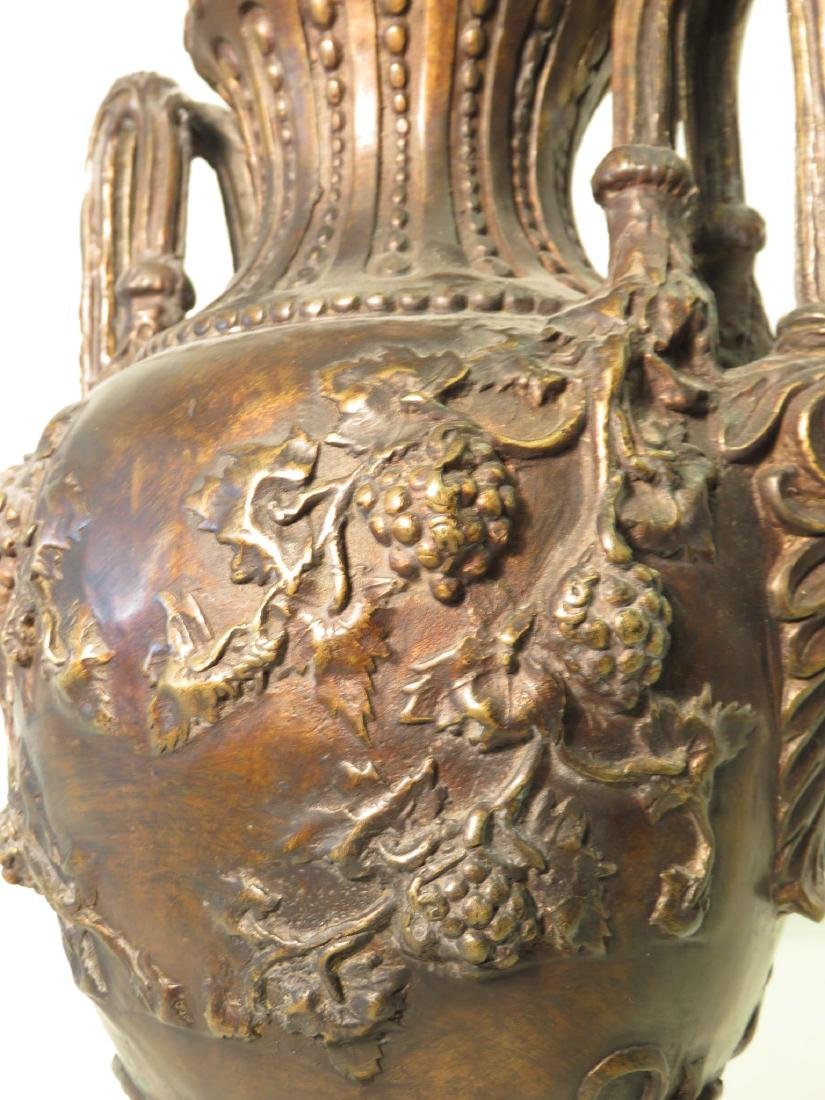 PAIR BRONZE & MARBLE COVERED URNS - 4