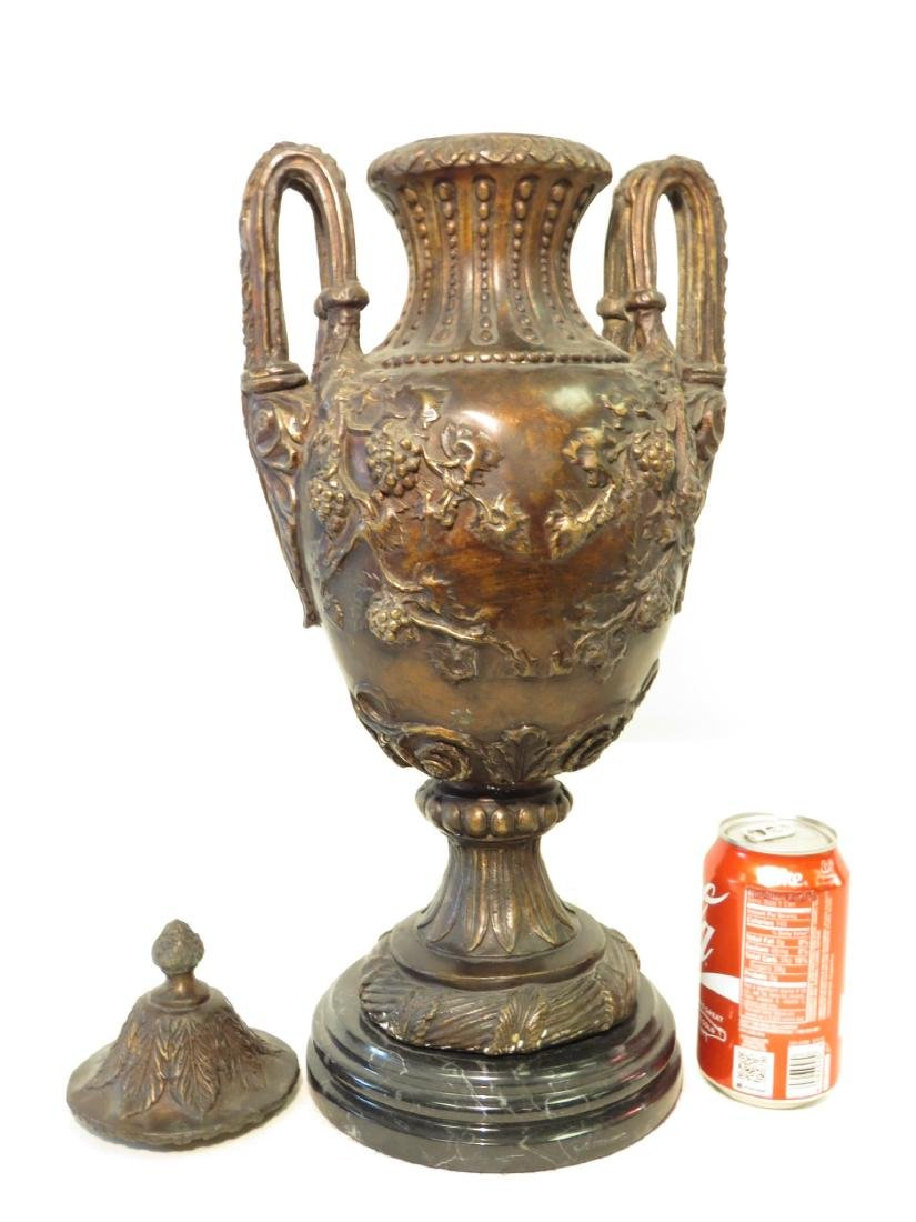 PAIR BRONZE & MARBLE COVERED URNS - 6