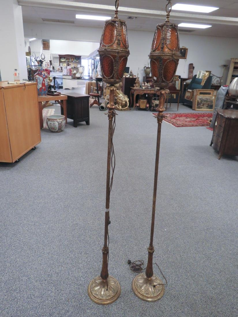 GOTHIC OR SPANISH REVIVAL TORCHIERE FLOOR LAMPS