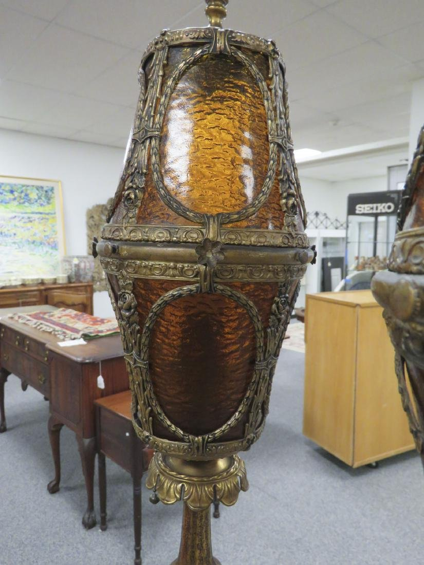 GOTHIC OR SPANISH REVIVAL TORCHIERE FLOOR LAMPS - 3