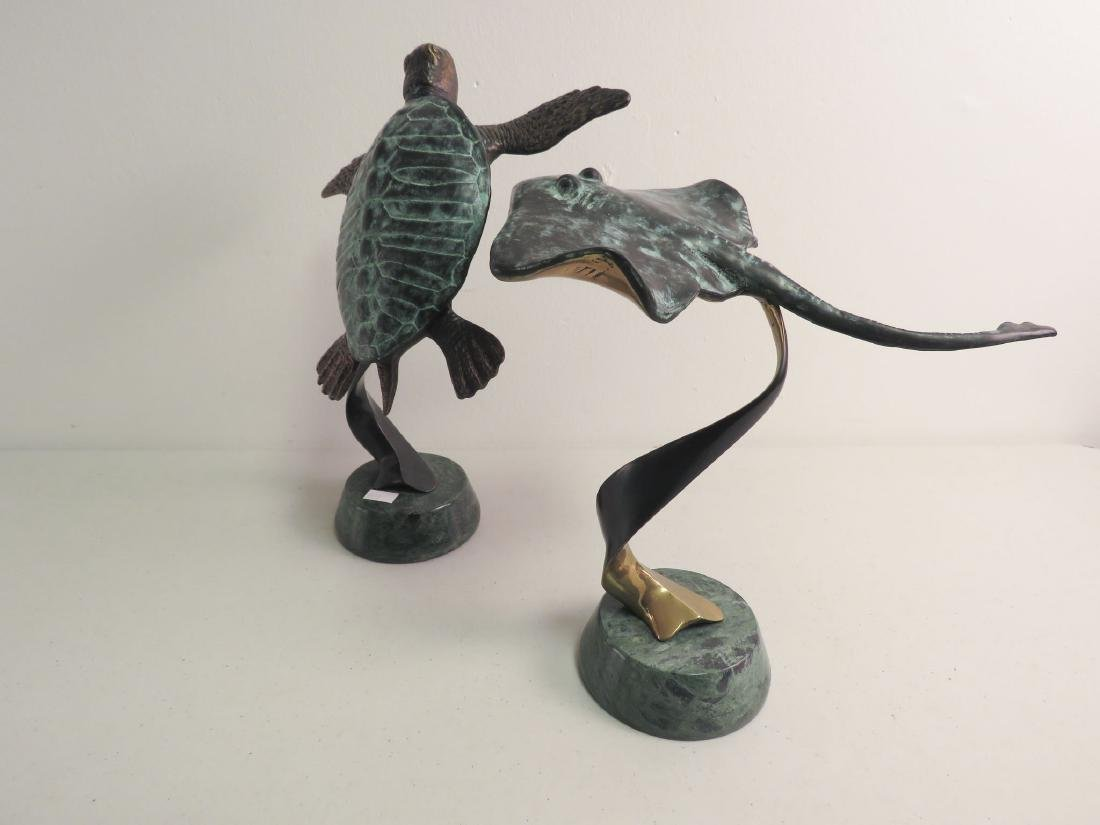2 BRONZE SCULPTURES: SEA TURTLE, STING RAY